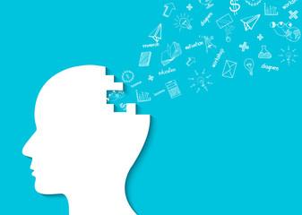 Human head creative idea icon. spark success in business. isolated blue background. cartoon vector illustration