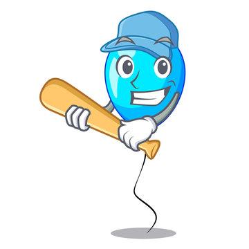 Playing baseball birthday cartoon on shape balloon blue