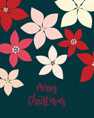 Merry Christmas greeting card. flower, floral.