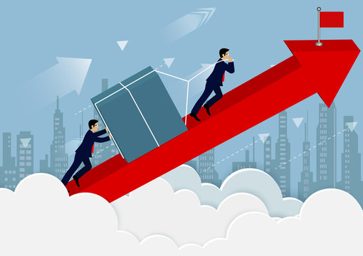 teamwork concept. Businessmen help push the barriers up the on red arrow go To the goal of financial business success. creative idea. cartoon vector illustration