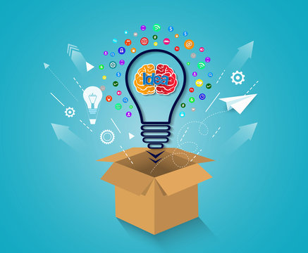 creative idea concept. think outside the box brain icon light bulb. business financial success concept. cartoon vector illustration . startup.