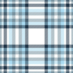 Plaid pattern in navy, blue, cyan gray and white.