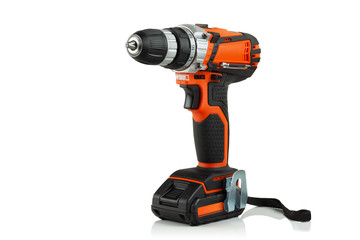cordless drill screwdriver on white background