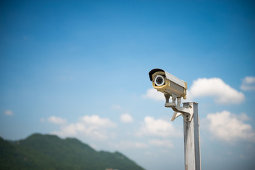 The CCTV camera on the outdoor for security concept