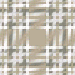 Plaid pattern in grey, white and taupe.