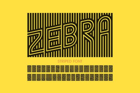 Striped font design, alphabet letters and numbers
