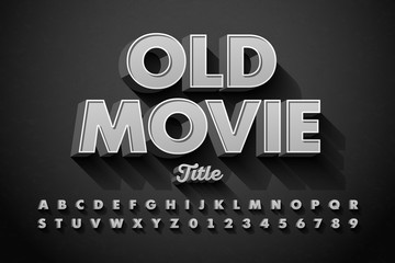 Retro style font, Old Movie title screen, alphabet letters and numbers