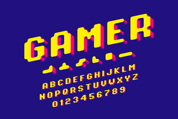 Gamer font, 3d stylized pixel style alphabet letters and numbers
