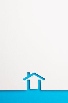 background of minimal house on blue border
