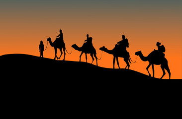 Foto auf Leinwand Durre silhouette of four camel riders. Up hill with sunset background