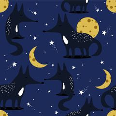 Foxes, hand drawn backdrop. Colorful seamless pattern with animals, moon, stars. Decorative cute wallpaper, good for printing. Overlapping background vector. Design illustration