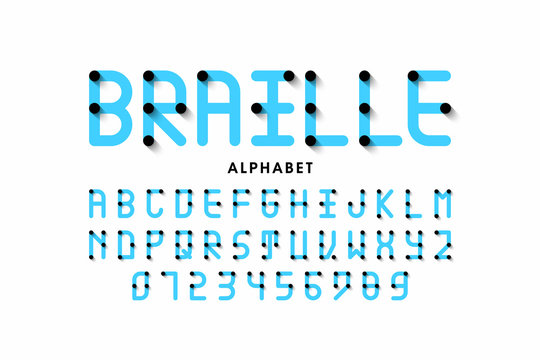 Braille alphabet letters and numbers