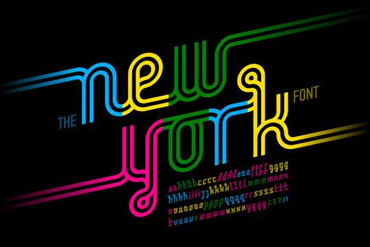 Colorful continuous line font, inline alphabet