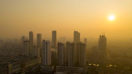 Beautiful Jakarta cityscape at sunrise time