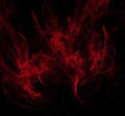 Red poppy fractal on black background. Fantasy fractal texture. Digital art. 3D rendering. Computer generated image.