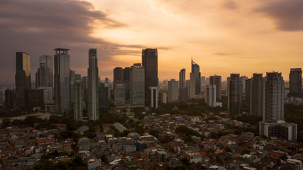 Beautiful Jakarta cityscape during dusk time