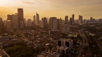 Beautiful Jakarta cityscape during sunset