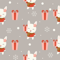 cute bunny christmas seamless pattern theme, for use as wallpaper and wrapping paper gift
