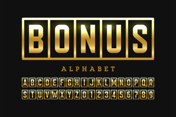 Welcome Bonus casino banner design font, slot machine style alphabet letters and numbers