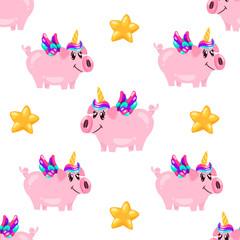 Seamless cute pig unicorn pattern. Baby print. cartoon hand drawn caracter.