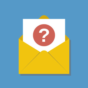 opened yellow envelope with question sign round red icon