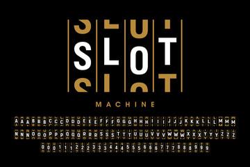 Slot machine style modern font design, alphabet letters