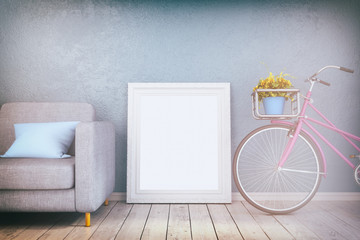 3d render - mock up poster in a living room - retro look