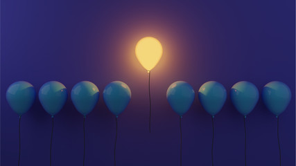 Fototapeta Stand out concept with glowing balloons  obraz