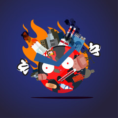 waste or pullation world are angry and upset. global warming concept - vector