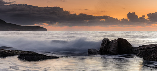 Rocky Panorama Sunrise Seascape