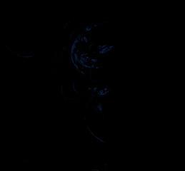Blue fractal on black background. Digital art. 3D rendering. Computer generated image.