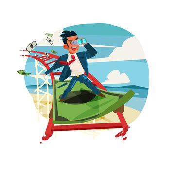 businessman riding on banknote as roller coaster.Business or Finance conceptual - vector