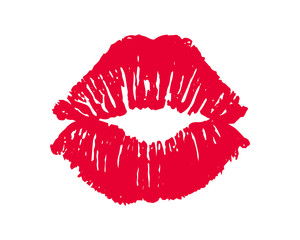 Female red lipstick kiss isolated on white background.