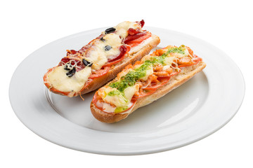 Hot sandwich on a white background