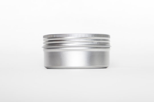 blank mock up advertising with copy space of the metal jar aluminum isolated on the white background