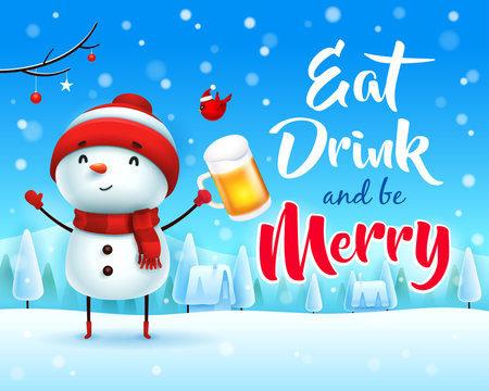 Merry Christmas! Cheerful snowman with beer in Christmas snow scene winter landscape.
