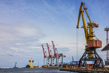Fototapeta Odessa, Ukraine: Container terminal of Odessa sea commercial port. obraz