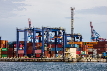 Foto op Plexiglas Poort Odessa, Ukraine: Container terminal of sea commercial port.