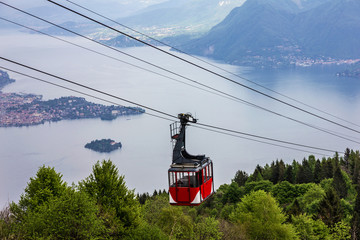 Cable car above lake, Lombardy, Italy. Stresa cable car, Lago Maggiore  landscape Wall mural