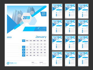 Business template style, set of 12 months calendar design for year 2019.