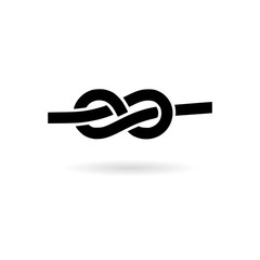 Black Rope knot icon or logo
