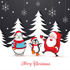 Merry Christmas greeting card design with illustration of cute santa claus, bear and penguin on winter background decorated with snowflakes.