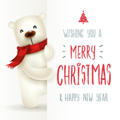 Polar Bear with big signboard. Merry Christmas calligraphy lettering design. Creative typography for holiday greeting.