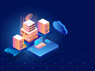 Data management concept, 3d illustration of cloud servers connected to laptop with smartphone and local servers on blue background.