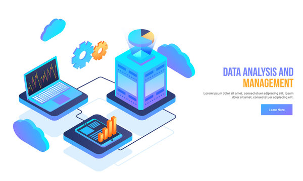 Isometric laptop connected to smartphone and server with infographic elements for Data Analysis and Management concept web template design.