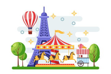 Paris cityscape with Eiffel tower, amusement park carousel and street food trolley. Vector flat illustration.