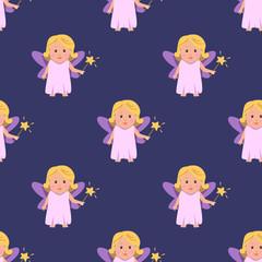 Fairy girls seamless pattern