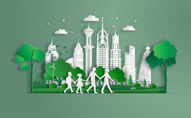 Family walking in the park and holding hands, eco green city, save the planet and energy concept, flat-style vector illustration.
