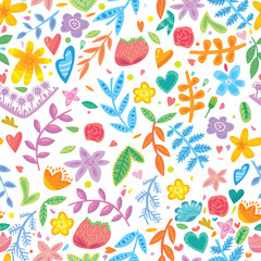 Cute color flower seamless pattern