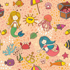 Cute children color textile seamless pattern background with mafic mermaid and sealife
